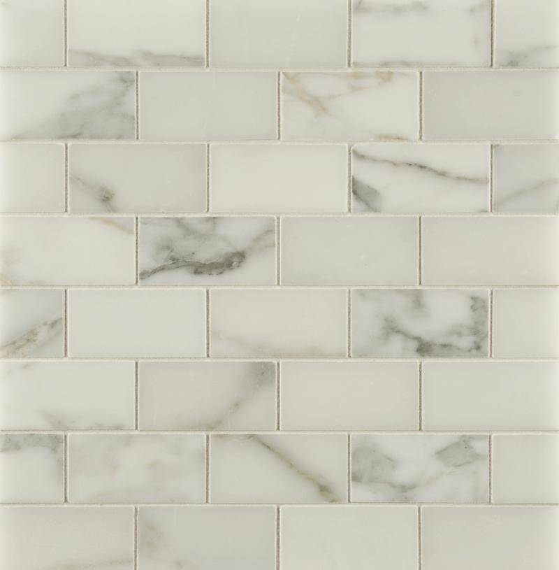 """Ann Sacks Mosaic Bathroom Tile: ANN SACKS Calacatta Borghini 1-1/2"""" X 3"""" Offset Marble"""