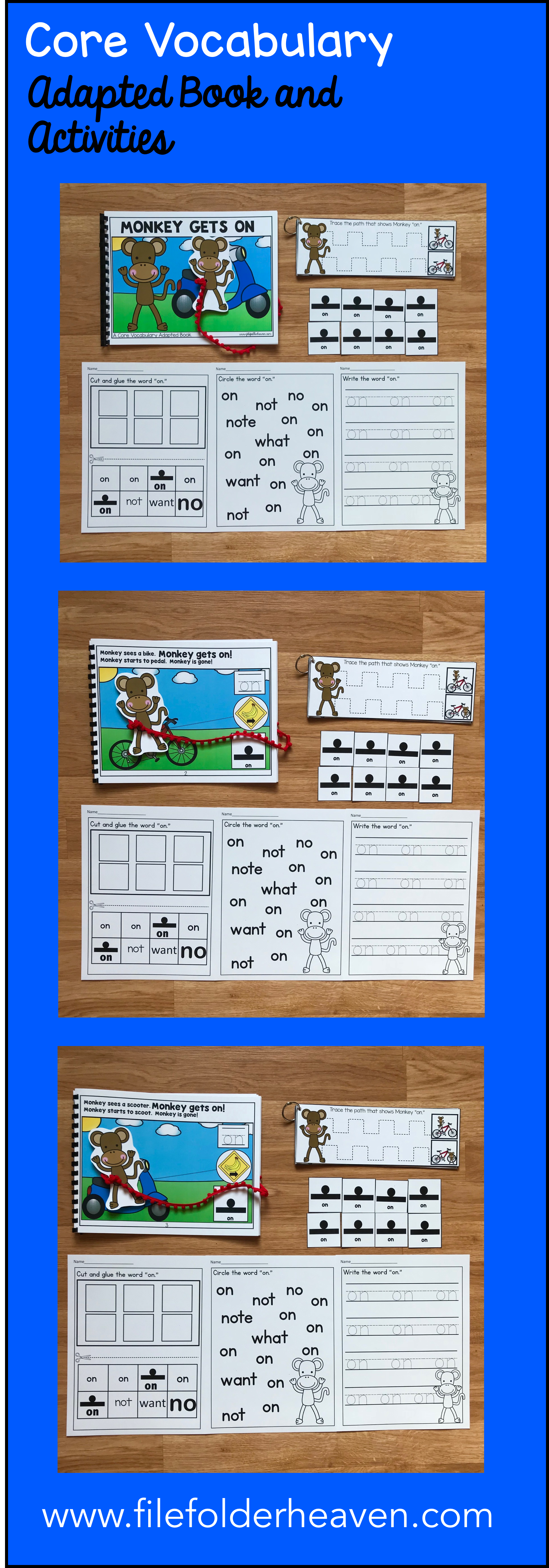 This Core Vocabulary Adapted Book Monkey Gets On Is A