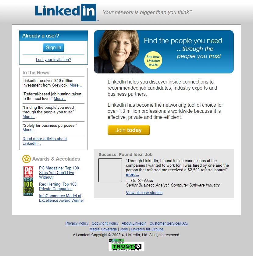 Linkedin Website In 2004 Linkedin Help Linkedin Website Web Design