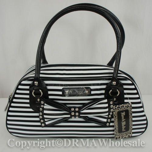 Rock Rebel Black White Striped with Bow Girl Womens Handbag Rockabilly Purse New | eBay
