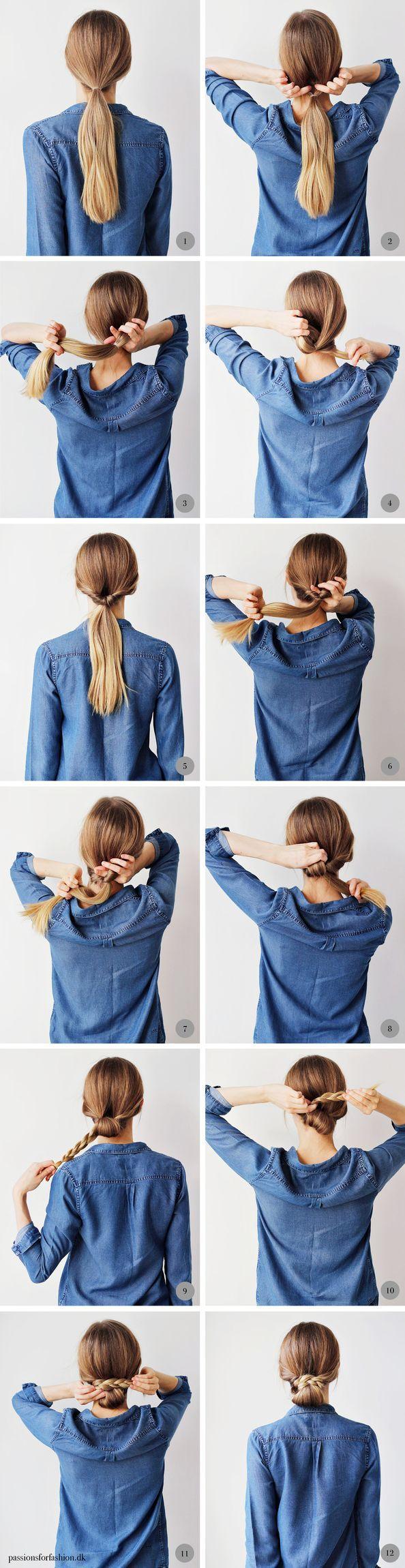 Fredagsfrisure knold med fletning hår pinterest hair style