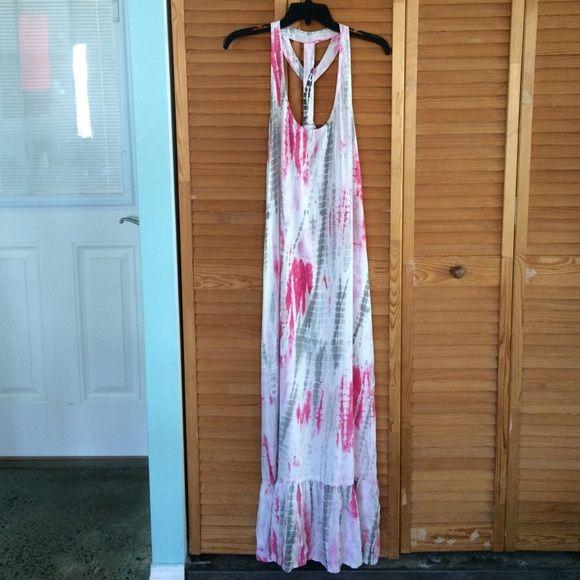 NWT Ava Sky maxi dress NWT AVA Sky Corfu pink tie dye maxi dress. Cute ruffle @ bottom. Ava Sky Dresses Maxi
