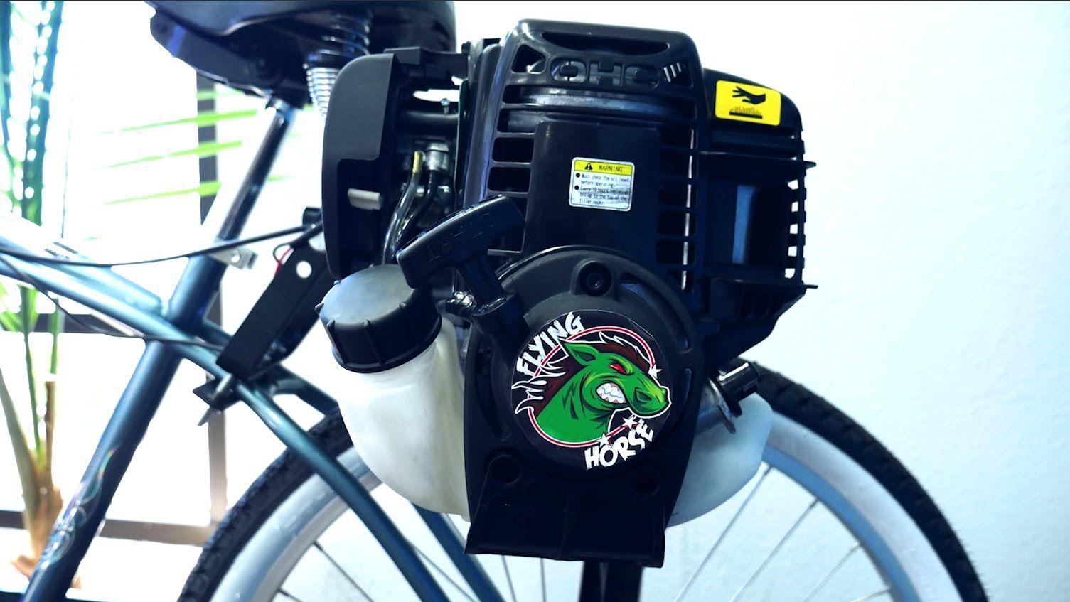 4 Stroke 38cc Friction Drive Motor Bicycle Engine Kit Installation