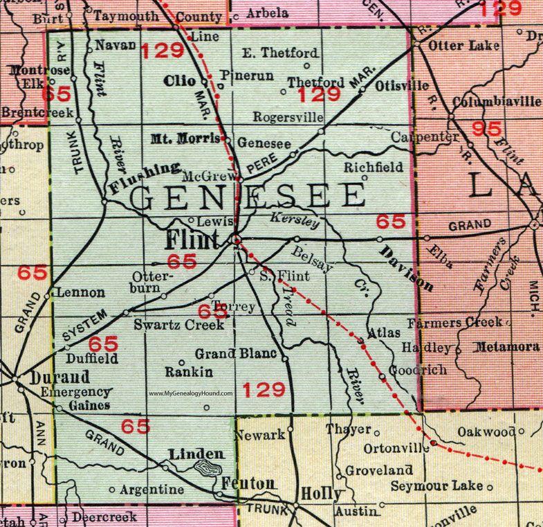 Genesee County Michigan 1911 Map Rand Mcnally Flint