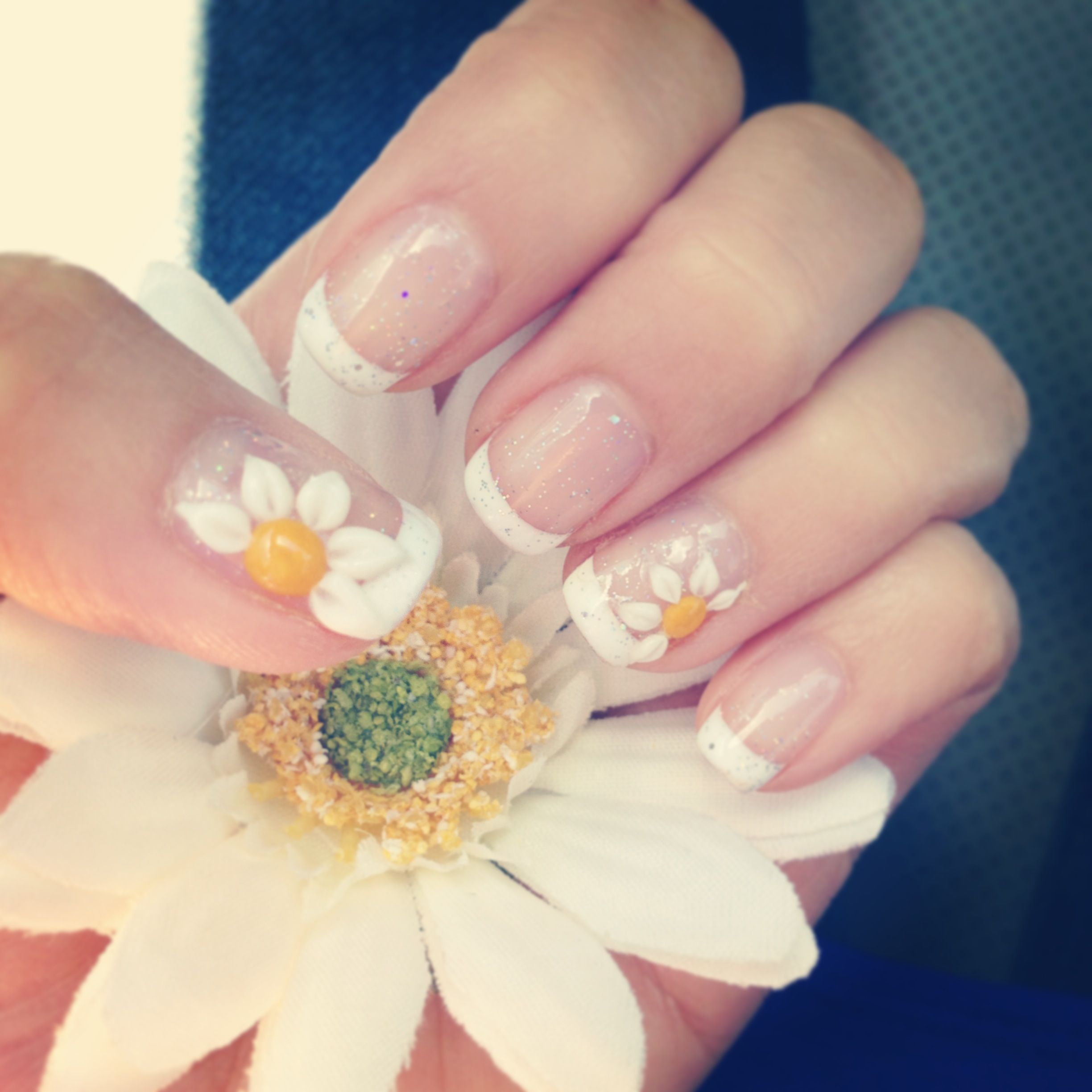 My EDC daisy nails! So excited! | Hair, Makeup, and Nails ...