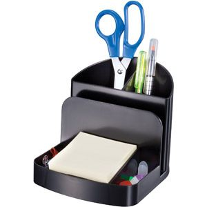 Oic Recycled Deluxe Desk Organizer Black 5 Compartment S 5 Height X 5 4 Width X 6 8 Depth Desktop Recycled Black Plastic 1each Walmart Com Desk Organization Office Supplies Diy Minimalist Office Supplies