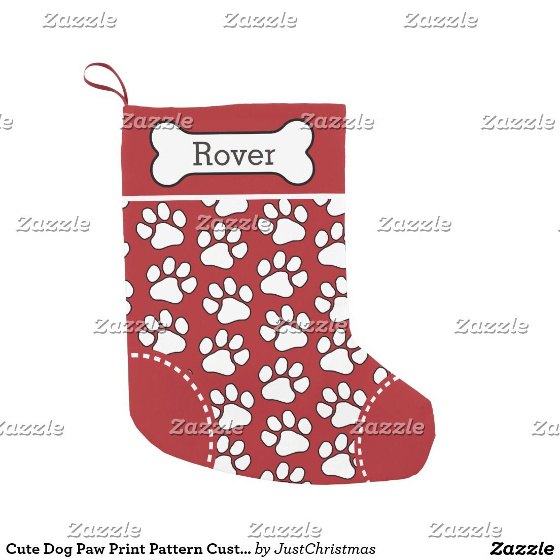 cute dog paw print pattern custom pet name small christmas stocking - Christmas Pet Names