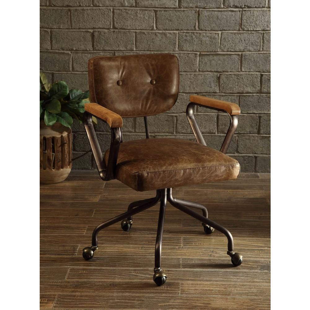 posture executive leather chair sleek dining room chairs acme furniture hallie vintage whiskey top grain office | space pinterest ...