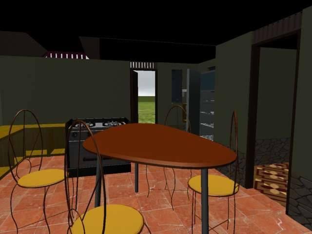 casa interior 3D, uno de mis primeros trabajos, cuando estudiaba Diseño y Animación 3D.