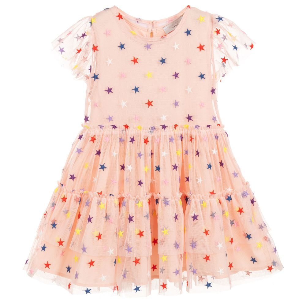 d2ea06bab Girls pink tulle dress by Stella McCartney Kids, with multicoloured embroidered  stars. The lining is made in jersey and voile, and has an elasticated waist.