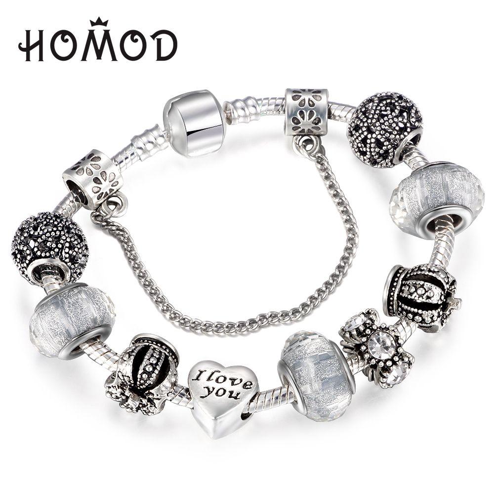 Homod vintage royal crown crystal love charm bracelet women fit