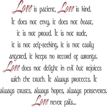 Love Is Kind Quote Cool Love Is Patient Love Is Kind  Wall Decal  Corinthian