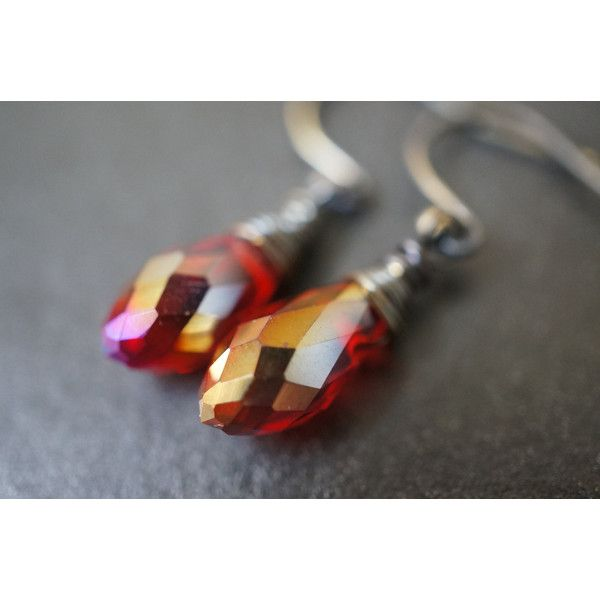 30% OFF Vintage Walnut Tone Hand Wrapped Simple Fits All AB Ruby Fire... ($6.19) ❤ liked on Polyvore featuring jewelry, earrings, vintage teardrop earrings, ruby jewelry, red swarovski crystal earrings, vintage red earrings and tear drop earrings