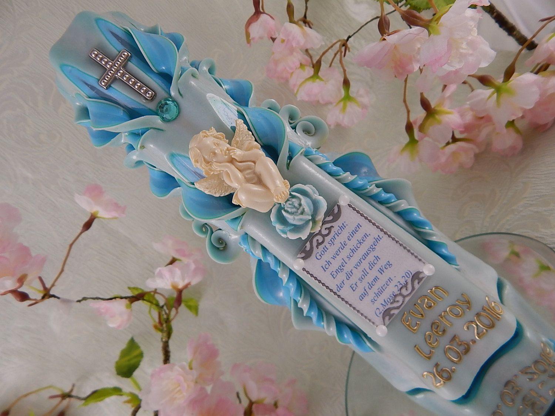 Taufkerze handgeschnitzt hellblau mit Spruch Taufkerzen für Jungen handmade