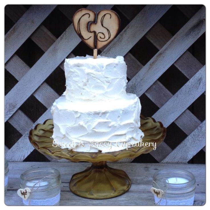 Small Two Layer Rustic Wedding Cake