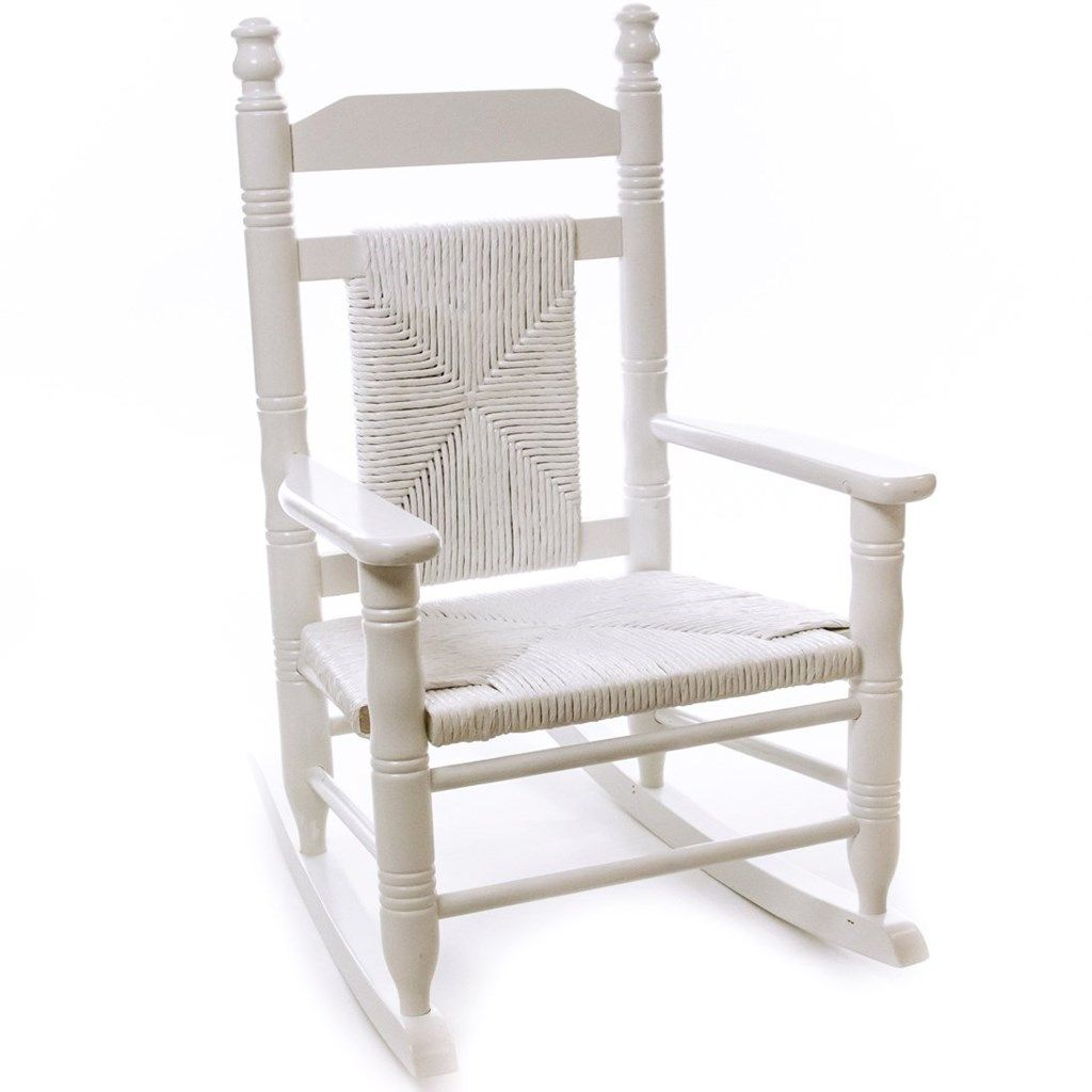 Child Woven Seat Rocking Chair Pure White Home Furniture Indoor Furniture Rocking
