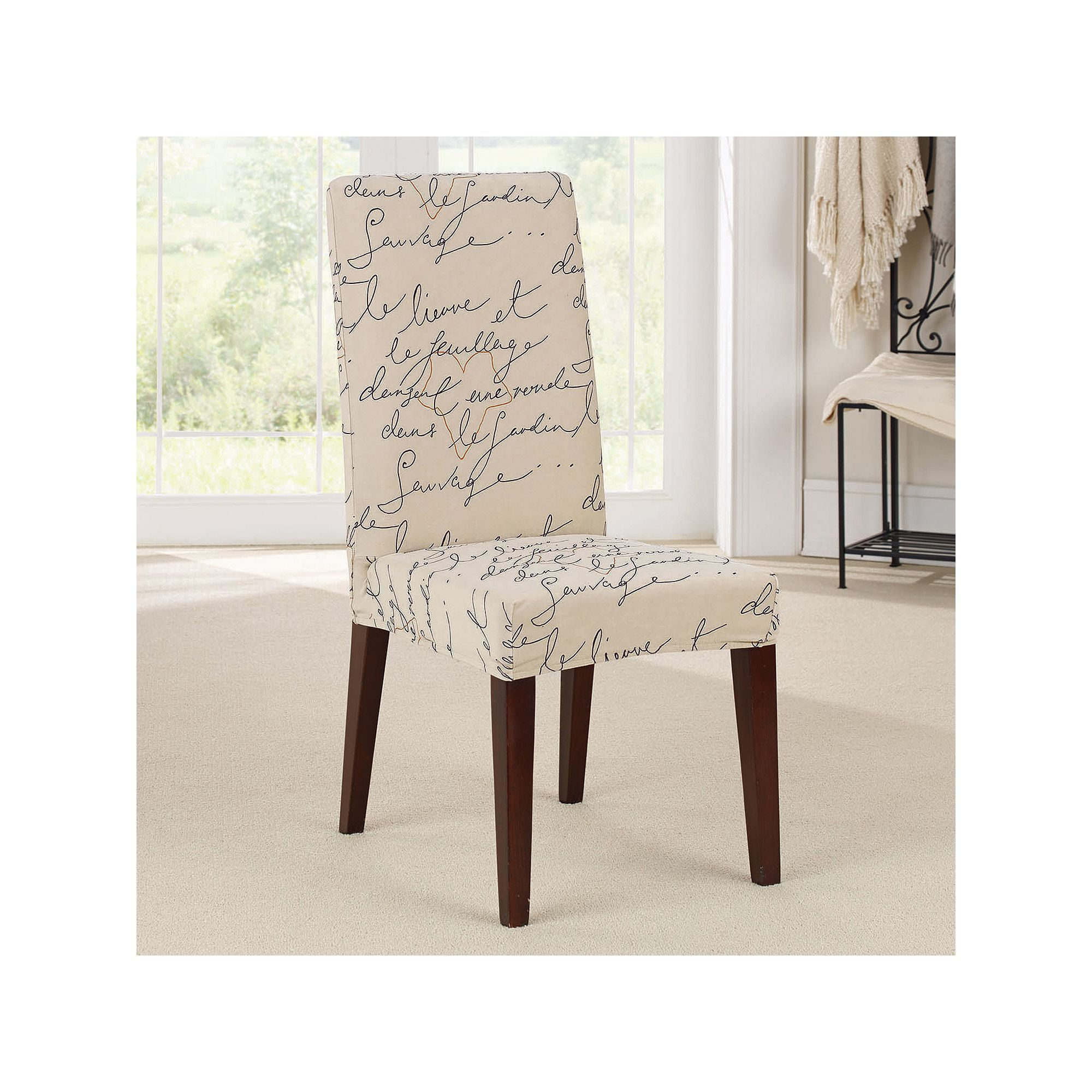 White Slip Covers For Dining Room Chairs Video Game Sure Fit Waverly Stretch Pen Pal Short Chair