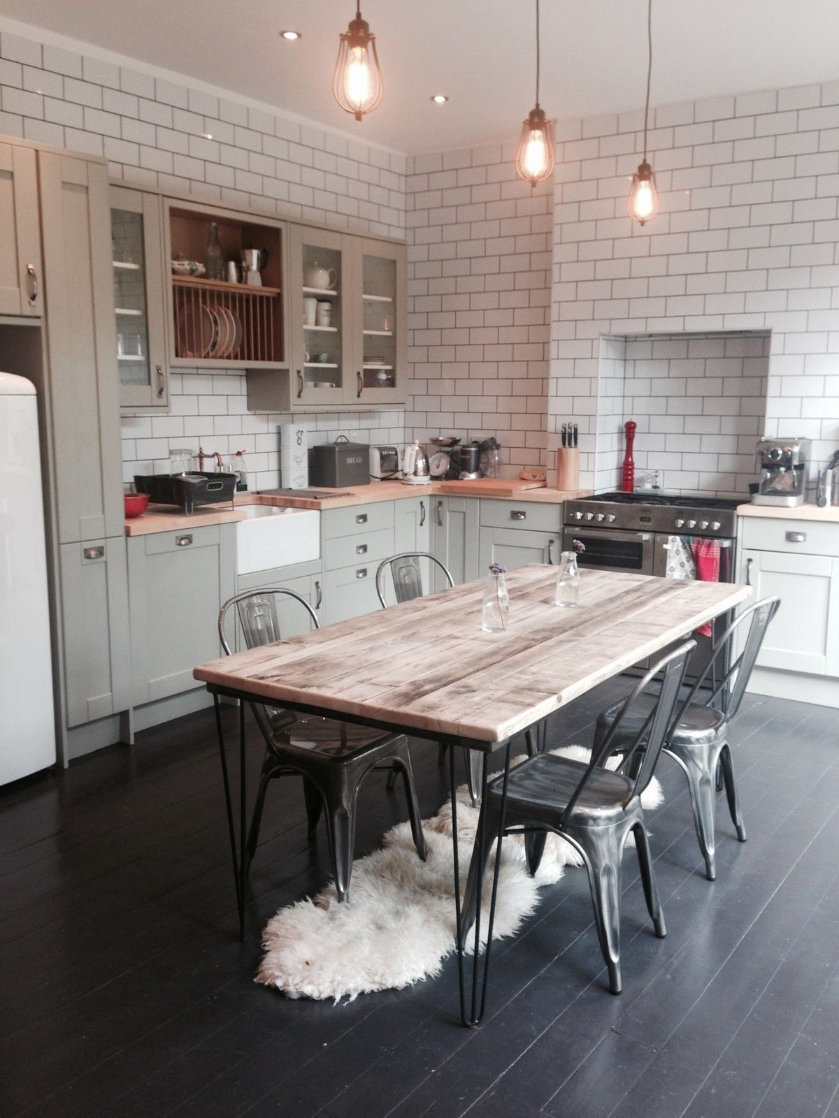 Vintage Industrial Hairpin Leg Rustic Reclaimed Plank Top Dining Interesting Dining Room Ideas Uk Design Decoration