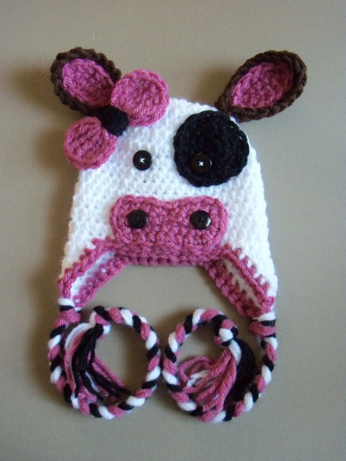 Crochet Cow Hat, Baby Cow Hat, Baby Girl Hat, Newborn Hat - Made To ...