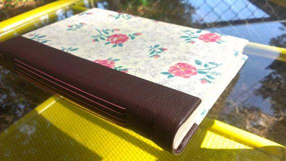 Hand made book  Cream green and rose floral por BookBindingBirdy