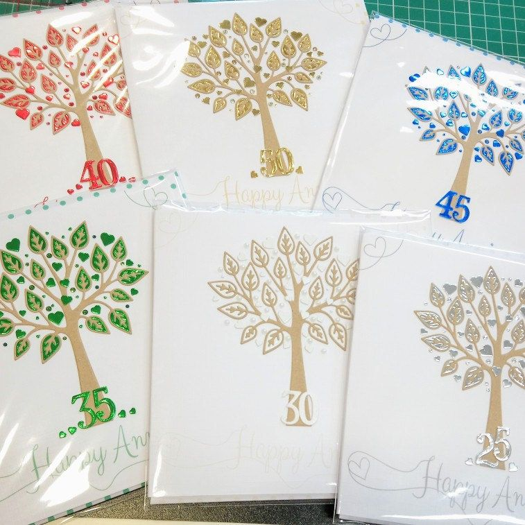 All back in stock now! Wedding anniversary cards with