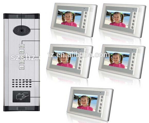 475.55$  Buy now - http://aliiev.worldwells.pw/go.php?t=32453765415 - Fashionable and luxury panel wired  video door phone support ID card unlock 5 apartments intercom system for villa with camera