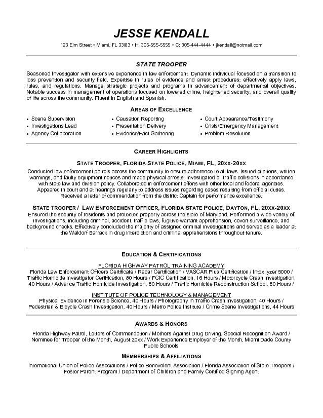 free law enforcement resume example writing sample objective - Law Enforcement Objective For Resume