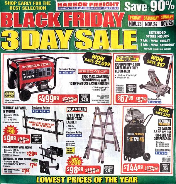 Harbor Freight Black Friday 2018 Ad Scan Black friday