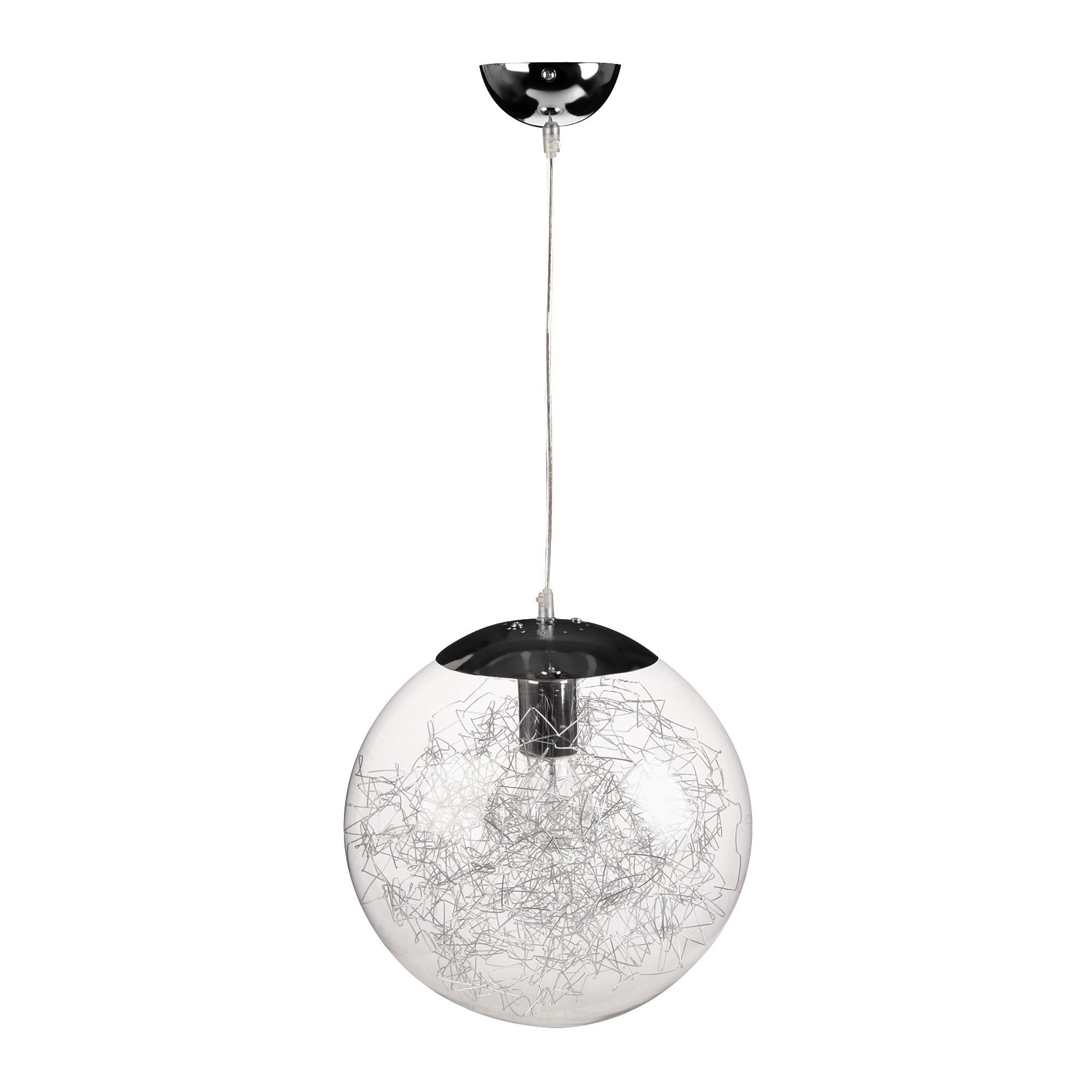 Suspension design d30cm acier verre chrome ball les for Luminaire suspension sejour