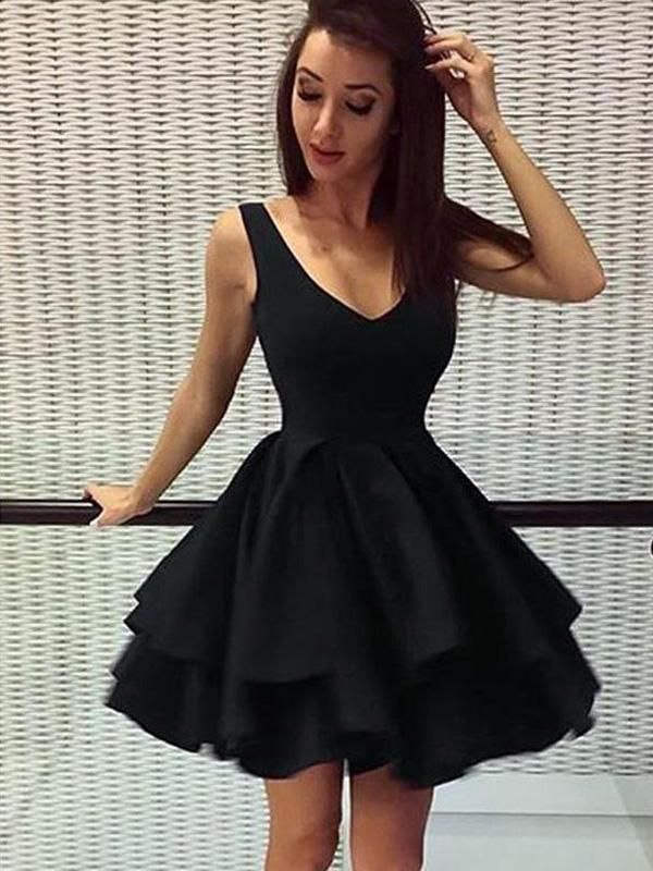 Cheap Short Simple V Neck Black Homecoming Dresses Online Cm531 In