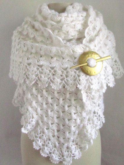 Christmas Gift Crochet Shawl Wedding Bridal White Scarf Mom On Etsy