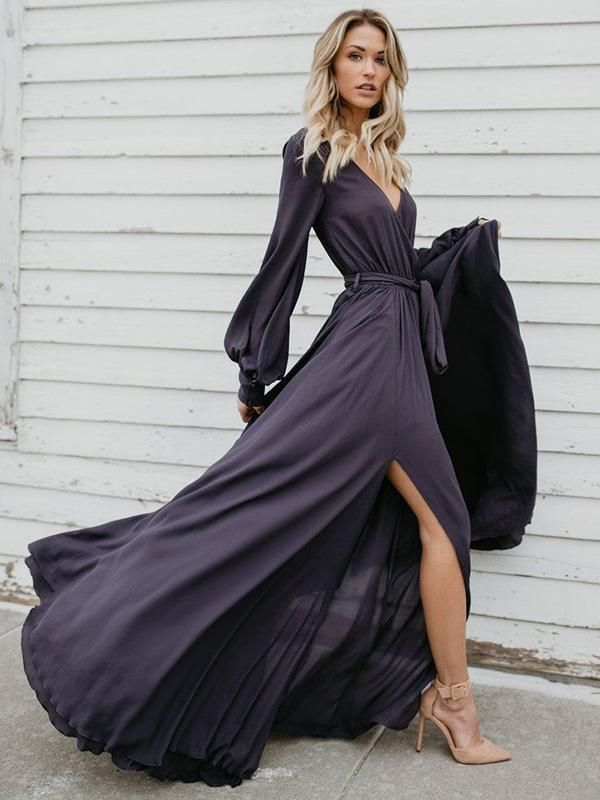 427fa58f7f V-neck Long Sleeves Belted Maxi Dress