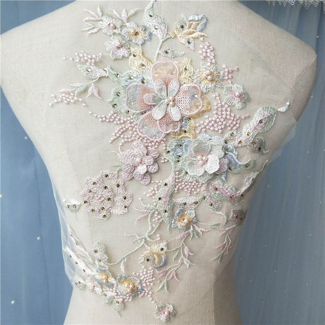 1Pcs Ivory Sequin Beaded Lace Applique Wedding Dress Bridal Lace Fabric Decor