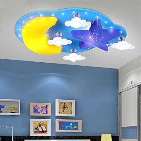 Deckenleuchte Mond Sterne Wolke LED Lampe Blau Kinderlampe