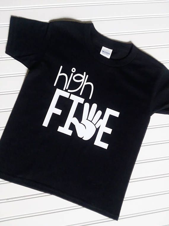 High Five Boys Birthday Shirt 5th