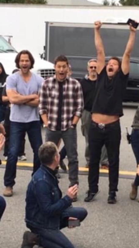 Joy. Jared Padalecki, Jensen Ackles and Misha Collins. #mishacollins