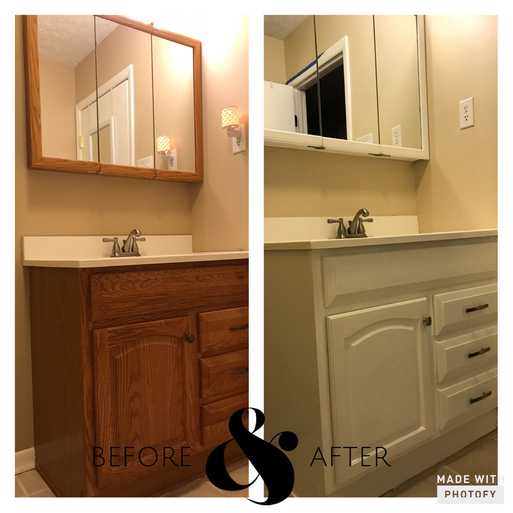 Bathroom Remodel. No More Oak Or Brass! Used Cabinet