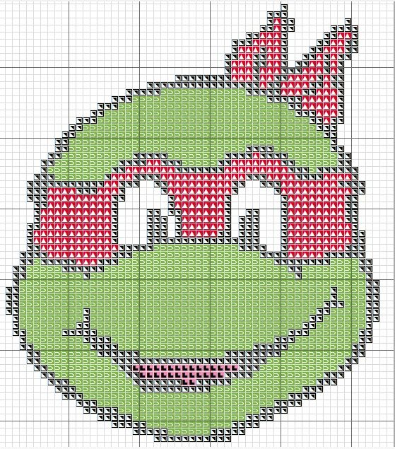 Free Cross Stitch Chart - TMNT Red Teenage Mutant Ninja Turtle  Raphael