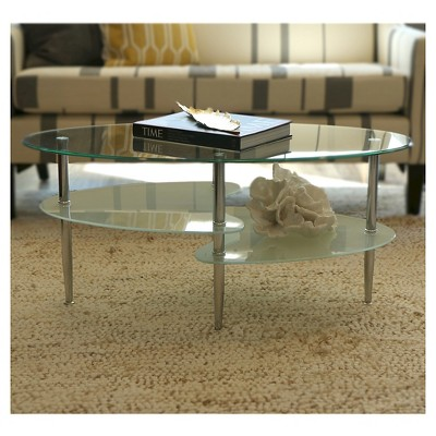Oval Glass Coffee Table Clear/Frosted - Walker Edison, Clear/Silver