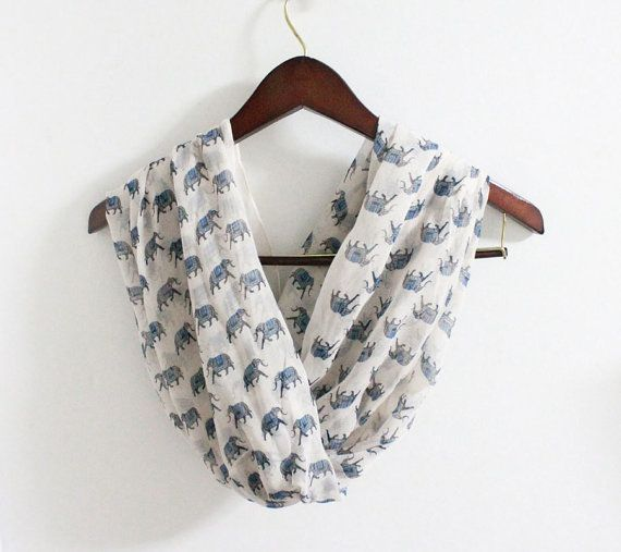 Indie Elephant Infinity Scarf Off White Scarf with by ...