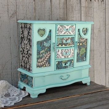 Shabby Chic Jewelry Box Jewelry Armoire Mint Green Decoupage
