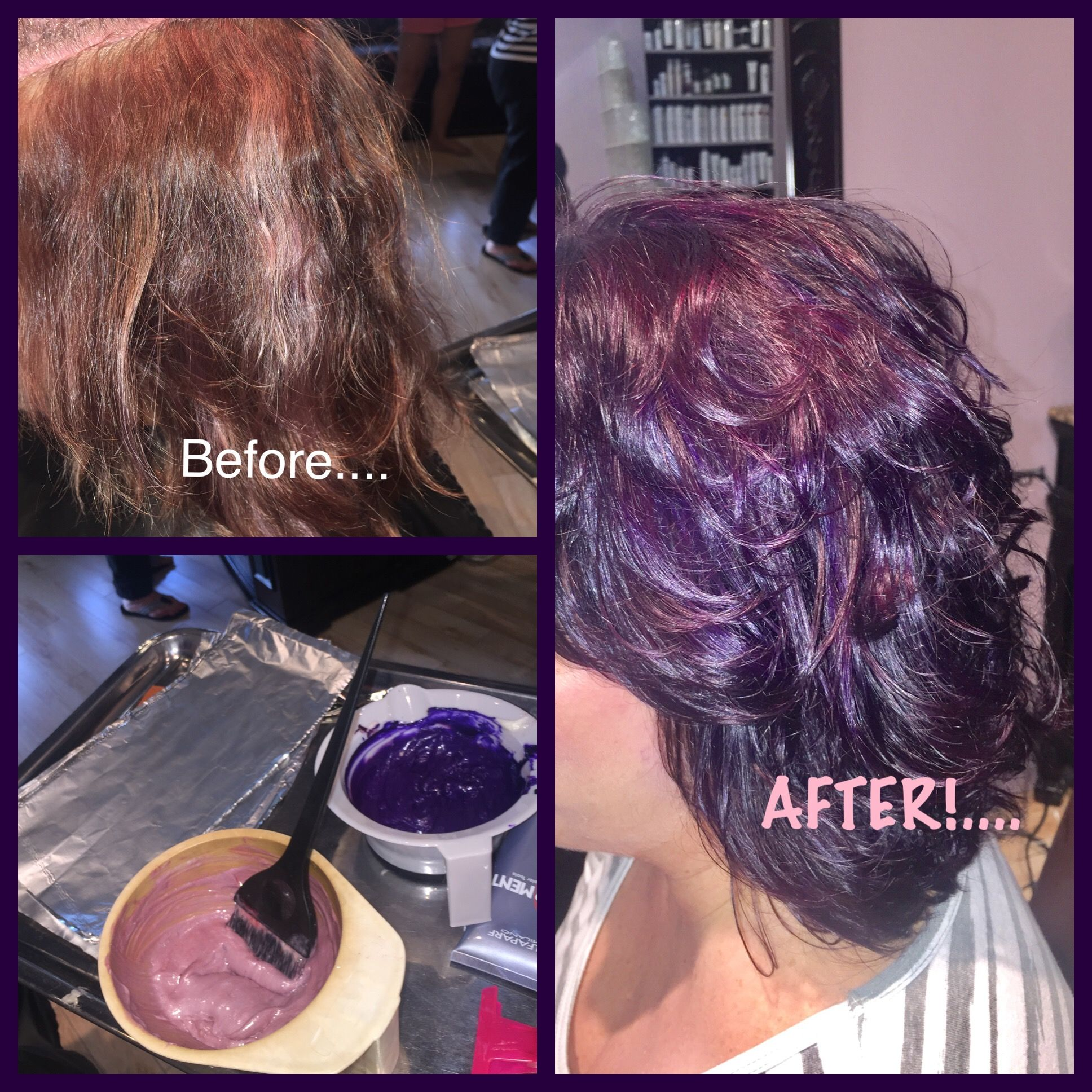 Beforeafter Red To Purple Using Ag Pigments And Alfaparf Milano