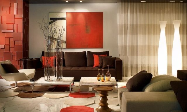 inspiration - salon rouge brique | Living room orange ...