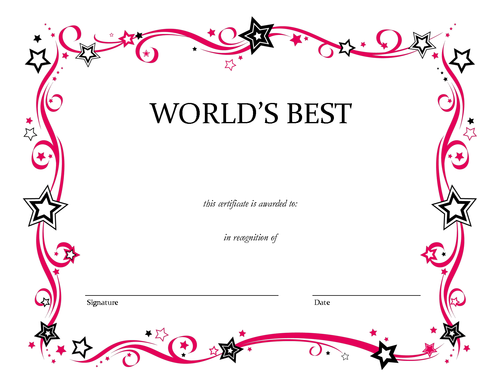 printable award certificate templates