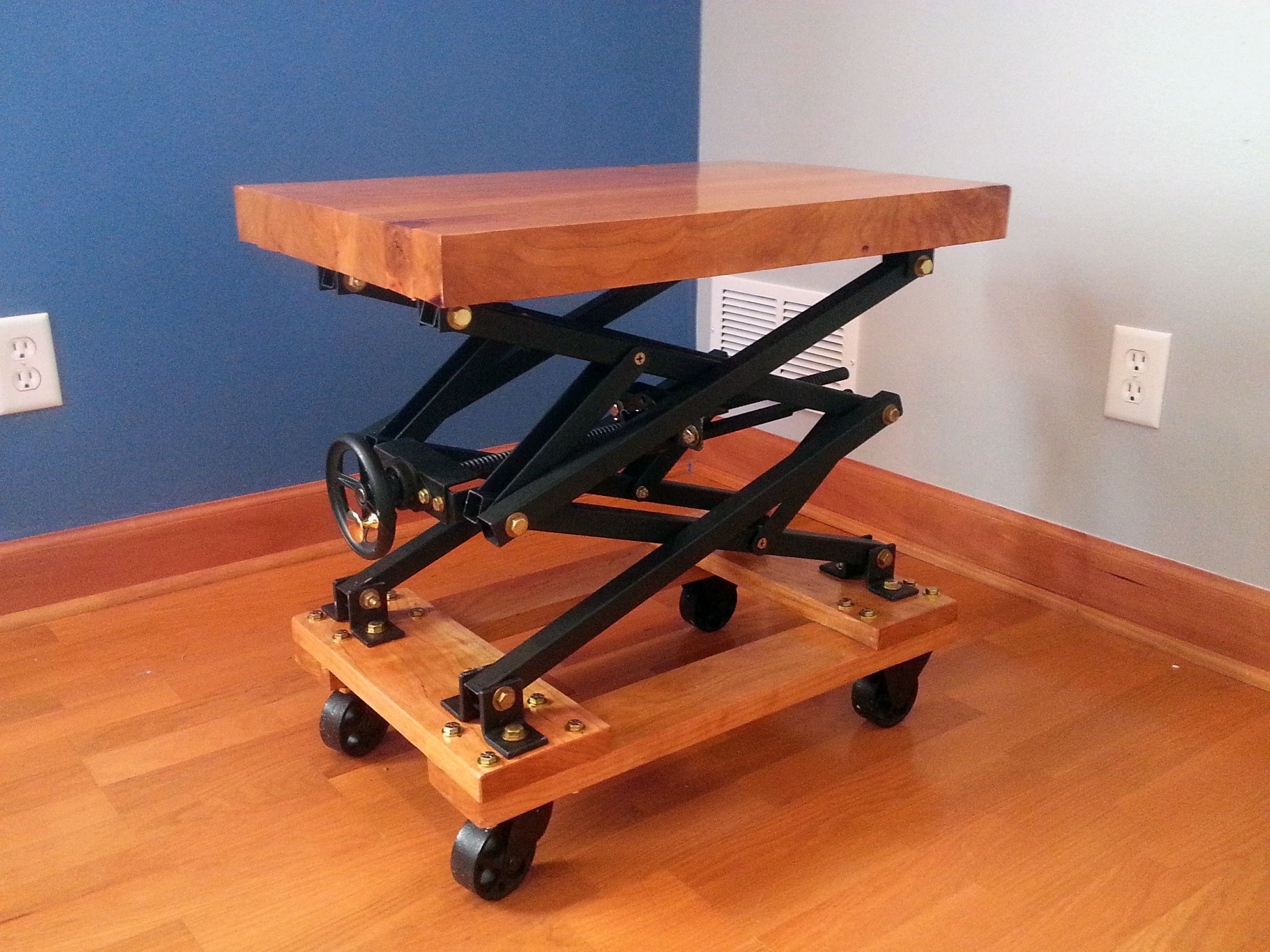I Built An Industrial Style Scissor Lift End Table With A Lot Of