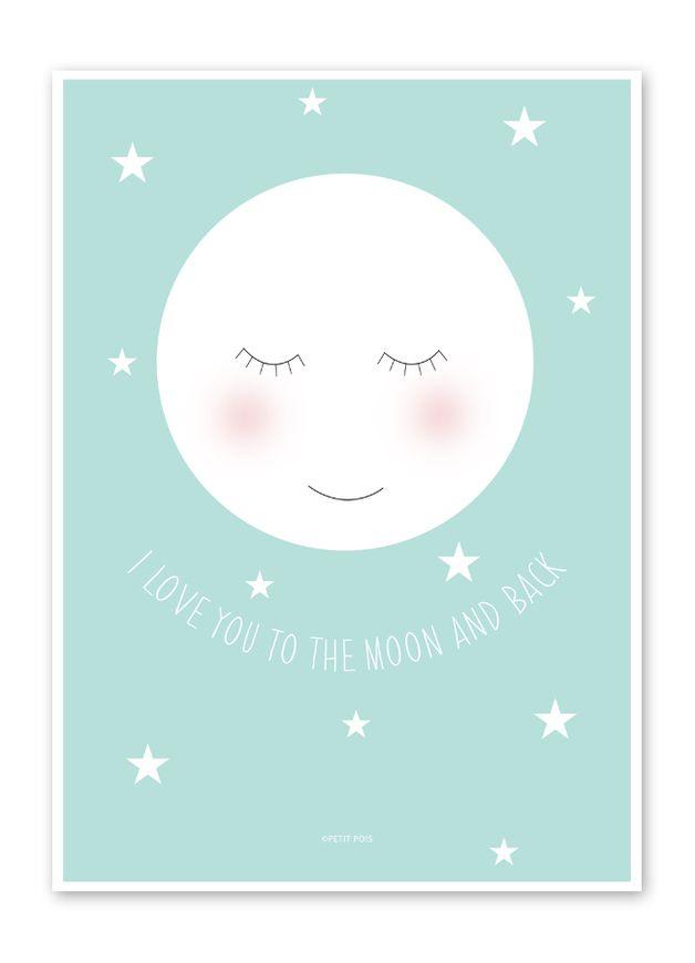 Mond Bild / Poster für das Kinderzimmer DIN A4 | Nursery, Walls and ...