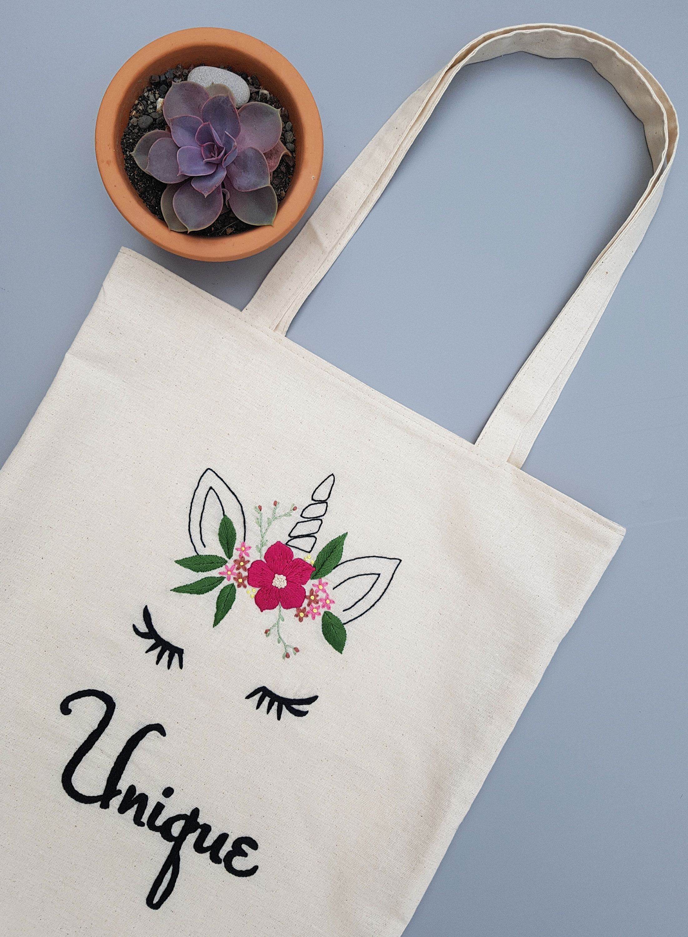 Unicorn Canvas Bag Personalized Beach Bag Flower