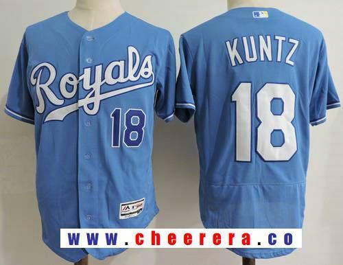 a36200b3e20 Men s Kansas City Royals Coach  18 Rusty Kuntz Light Blue Alternate  Stitched MLB Majestic Flex Base Jersey
