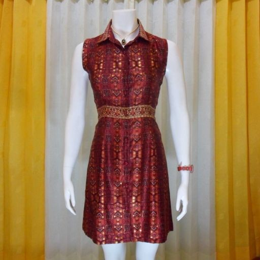 jenis kain semi sutra untuk model dress batik pesta dengan model