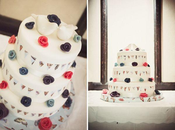 bunting wedding cake, image by Georgi Mabee Photography